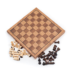 Wooden Book Style Chess Board with Staunton Chessmen Image