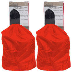 Heavy Duty Jumbo Sized Nylon Laundry Bag - RED Set of 2 Image