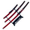 Samurai Sword Set with Display Stand-Set of 3 Japanese Swords-Katana, Tanto & Wakizashi-Red Marble Scabbard, Sheaths & Carbon Steel Blade by Whetstone