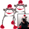 Set of 2 Adult Size Brown Sock Monkey Knit Hat