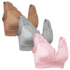 Set of 3 Rhonda Shear Bras - Pink, Gray and Mocha-Medium