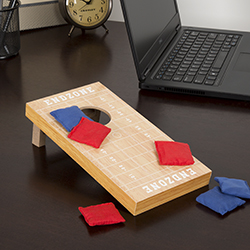 Tabletop Cornhole ? Classic Mini Travel Wood Beanbag Toss Skill Board Game with Football Field Design for Kids and Adults by Hey! Play! (Single Board)