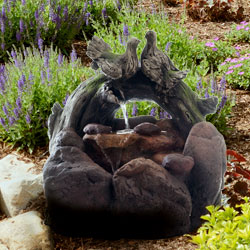 Nava LED Lighted Double Dove Outdoor Rock Fountain with Pump