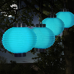 Outdoor Solar Chinese Lanterns - LED - Set of 4 - Blue Image