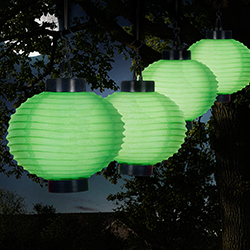 Outdoor Solar Chinese Lanterns - LED - Set of 4 - Green Image