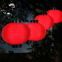Outdoor Solar Chinese Lanterns - LED - Set of 4 - Red Image