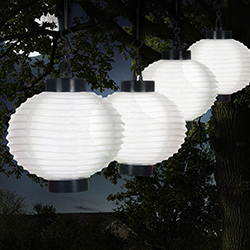 Outdoor Solar Chinese Lanterns - LED - Set of 4 - White Image