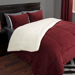 Lavish Home 3 Piece Sherpa/Fleece Comforter Set - King - Burgundy