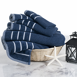 Combed Cotton Towel Set- Rice Weave 100% Combed Cotton 6 Piece Set With 2 Bath Towels, 2 Hand Towels and 2 Washcloths by Lavish Home- Navy