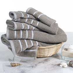 Combed Cotton Towel Set- Rice Weave 100% Combed Cotton 6 Piece Set With 2 Bath Towels, 2 Hand Towels and 2 Washcloths by Lavish Home- Taupe