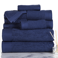 Lavish Home Ribbed 100% Cotton 10 Piece Towel Set - Navy