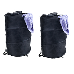 Pop Up Laundry Hamper-Collapsible Nylon Bag with Carrying Straps and Zipper for Dorm, Apartment by Lavish Home (Black, Set of 2) by Lavish Home