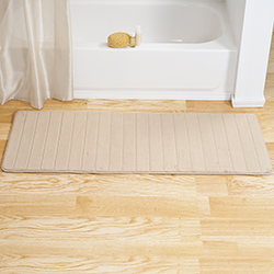 Lavish Home Memory Foam Striped Extra Long Bath Mat - Beige - 24x60