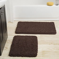 Lavish Home 2 Piece Memory Foam Shag Bath Mat - Chocolate