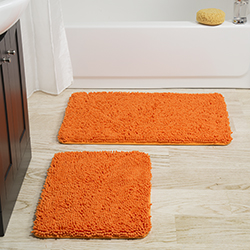 Lavish Home 2 Piece Memory Foam Shag Bath Mat - Orange