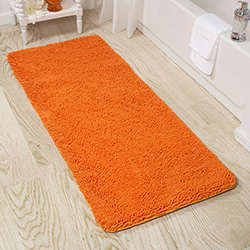 Lavish Home Memory Foam Shag Bath Mat 2-feet by 5-feet - Orange