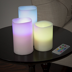 3 Piece Multi-color LED Flameless Pillar Candle Set with Remote Image