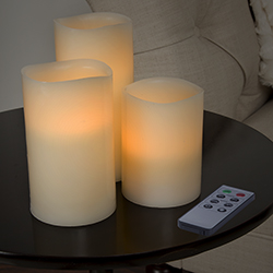 3 Piece LED Flameless Pillar Candle Set with Remote Image