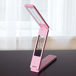 Lavish Home LED Folding Lamp Book Light Clock Calendar Alarm - Pink