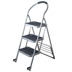 Stalwart Step Ladder Dolly Folding Cart - Silver