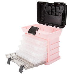 Parts & Crafts Rack Style Tool Box with 4 Organizers - Pink Image