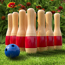 Lawn Bowling Game/Skittle Ball- Indoor and Outdoor Fun for Toddlers, Kids, Adults ?10 Wooden Pins, 2 Balls, and Mesh Bag Set by Hey! Play! (11 Inch)