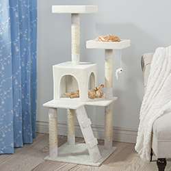 PETMAKER Penthouse Sleep and Play Cat Tree - 4 ft tall - White