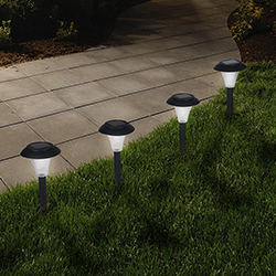 Solar Powered Lights (Set of 8)- Low Voltage LED Outdoor Stake Spotlight Fixture for Gardens, Pathways, and Patios Image