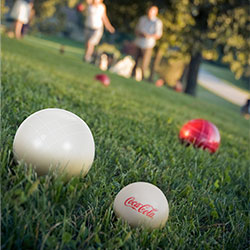Bocce Ball Set- Regulation Outdoor Family Bocce Game for Backyard, Lawn, Beach and More- 8 Balls, Pallino, and Carrying Case by Hey! Play! (Coca Cola)