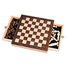 Elegant Inlaid Wood Chess Cabinet w/ Staunton Wood Chessmen