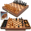 Inlaid Walnut style Magnetized Wood w/Staunton Wood Chessmen