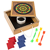 Tabletop Magnetic Dart and Beanbag Toss Set ? Wooden Classic Miniature Party Games with Carrying Case for Kids and Adults by Hey! Play!