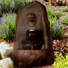 Outdoor Water Fountain With LED Lights- Lighted 3 Tier Lion Head Rock Fountain With Soothing Sound for Patio, Lawn and Garden D�cor By Pure Garden