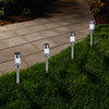 Solar Powered Lights (Set of 6)- LED Outdoor Stake Spotlight Fixture for Gardens, Pathways, and Patios by Navarro