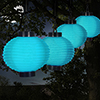 Solar Outdoor Lantern - Hanging Nylon Rechargeable LED Chinese Lighting for Garden, Patio, Gazebo, or Backyard by Pure Garden (Blue, Set of 4)