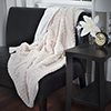 Lavish Home Plush Striped Embossed Faux Fur Mink Throw - Beige