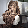 Lavish Home Plush Striped Embossed Faux Fur Mink Throw - Brown