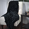 Lavish Home Plush Croc Embossed Faux Fur Mink Throw - Black