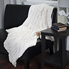 Lavish Home Plush Croc Embossed Faux Fur Mink Throw - Cream