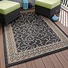 8' x 10' Area Rug, Indoor and Outdoor Stain Resistant Vine Ornate Rug by Lavish Home (Black and Tan) (Accent Rug for Home Decor)