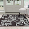 Lavish Home Brown/Blue Floral Scroll Area Rug (5' x 7'7