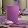 Everyday Home 5 Piece Bathroom Waste Basket & Toiletry Set - Purple