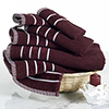 Combed Cotton Towel Set- Rice Weave 100% Combed Cotton 6 Piece Set With 2 Bath Towels, 2 Hand Towels and 2 Washcloths by Castle Point- Burgundy