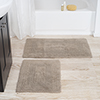 Cotton Bath Mat Set- 2 Piece 100 Percent Cotton Mats- Reversible, Soft, Absorbent and Machine Washable Bathroom Rugs By Lavish Home (Taupe)
