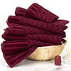 6-Piece Cotton Deluxe Plush Bath Towel Set ? Chevron Pattern Plush Sculpted Spa Luxury Decorative Body, Hand and Face Towels by Lavish Home (Burgundy)