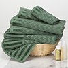 6-Piece Cotton Deluxe Plush Bath Towel Set ? Chevron Pattern Plush Sculpted Spa Luxury Decorative Body, Hand and Face Towels by Lavish Home (Green)