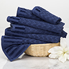 6-Piece Cotton Deluxe Plush Bath Towel Set ? Chevron Pattern Plush Sculpted Spa Luxury Decorative Body, Hand and Face Towels by Lavish Home (Navy)