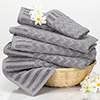 6-Piece Cotton Deluxe Plush Bath Towel Set ? Chevron Pattern Plush Sculpted Spa Luxury Decorative Body, Hand and Face Towels by Lavish Home (Silver)