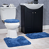 Lavish Home 3 Piece Super Plush Non-Slip Bath Mat Rug Set - Navy