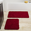 Lavish Home 2 Piece Memory Foam Shag Bath Mat Set - Burgundy